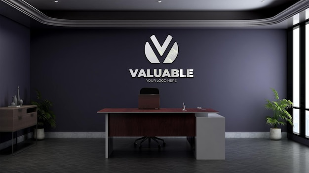Maquette de logo mural réaliste dans la salle du directeur de bureau