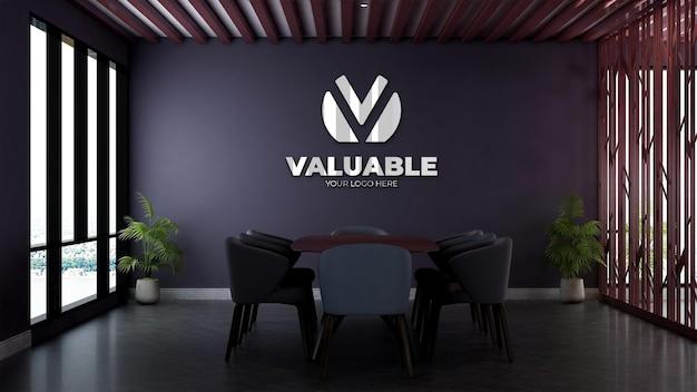 Maquette de logo mural réaliste dans la salle de réunion d'affaires du bureau