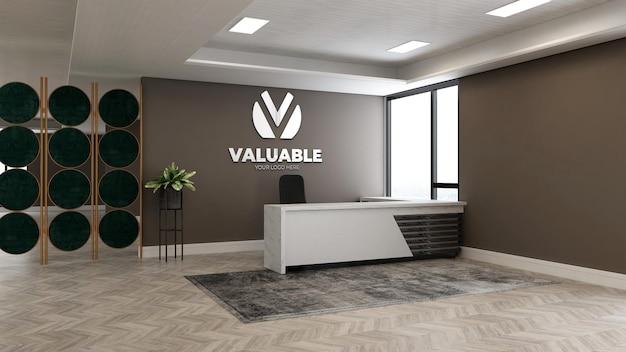 Maquette de logo mural à la réception du bureau ou à la réceptionniste