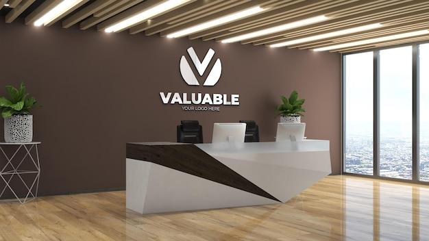 Maquette de logo mural à la réceptionniste du bureau ou à la réception avec mur marron