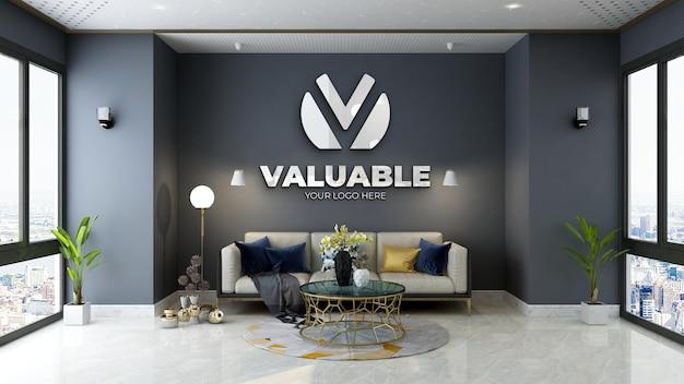 Maquette de logo mural de salle d'attente de bureau minimaliste