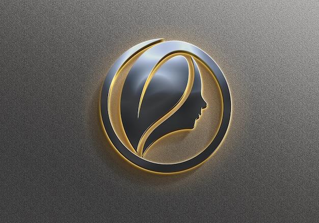 Maquette de logo néon argenté