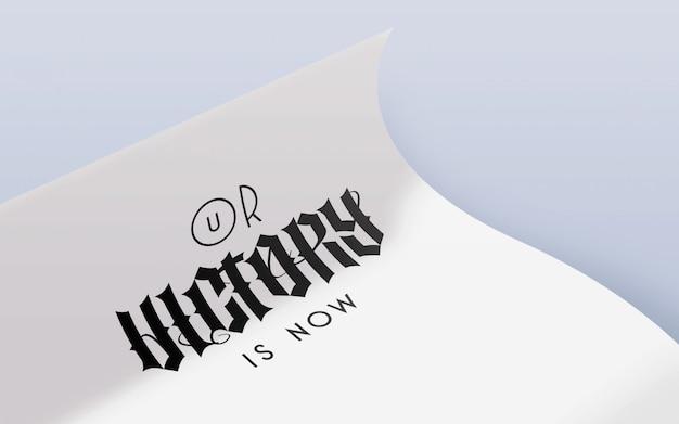 Maquette de logo noir en papier curl