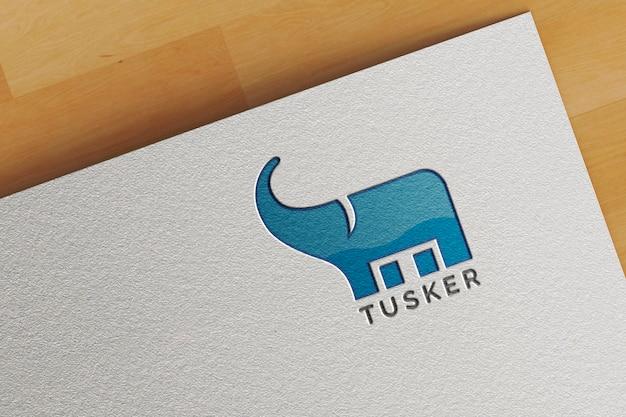 Maquette de logo en papier blanc