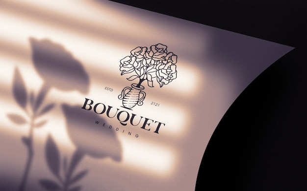 Maquette De Logo En Papier Incurvé Morning Light PSD Premium
