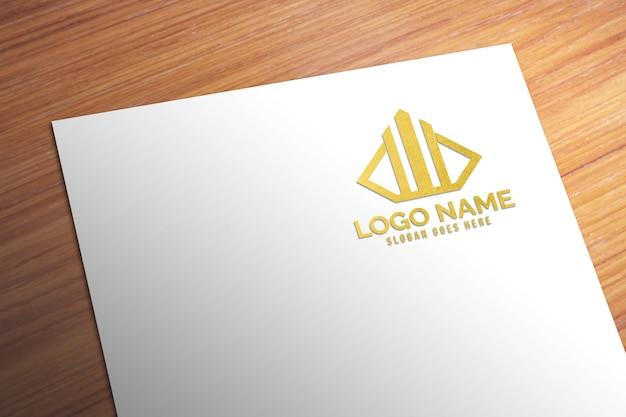 Maquette de logo en papier or réaliste 3d moderne