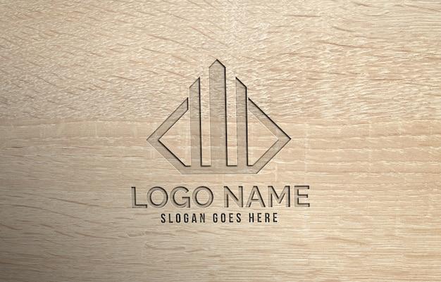 Maquette de logo perforée en bois réaliste 3d moderne