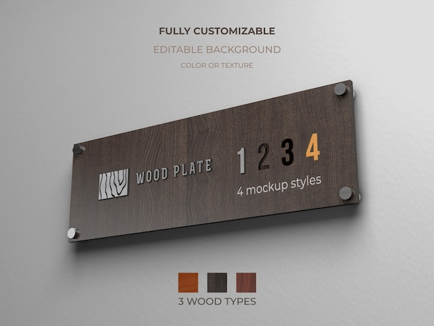 Maquette de logo sur une plaque en bois sur le mur