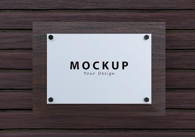 Maquette de logo de plaque de panneau mural en bois