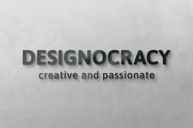 Maquette de logo psd moderne, conception réaliste de mur