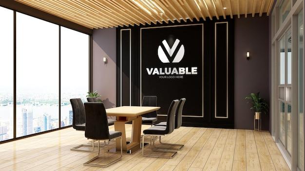Maquette de logo réaliste 3d dans le bureau de la salle de réunion d'affaires en bois