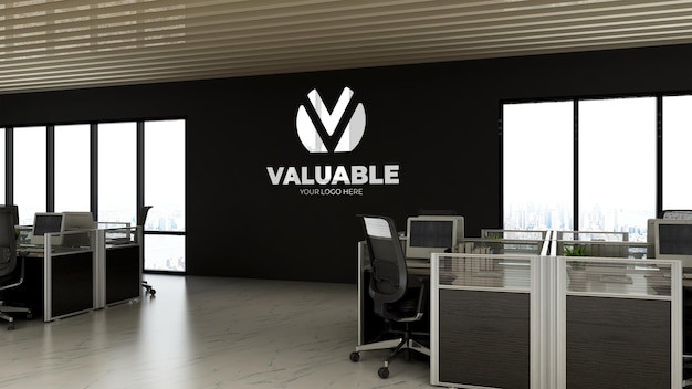 Maquette de logo réaliste 3d dans l'espace de travail de bureau