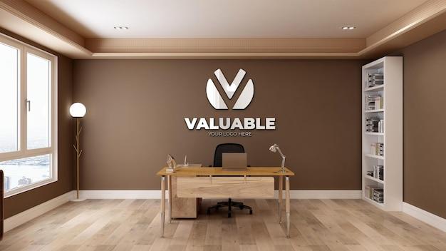 Maquette de logo réaliste 3d dans la salle de bureau d'affaires