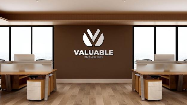Maquette de logo réaliste 3d sur le lieu de travail du bureau d'affaires avec un design intérieur en bois