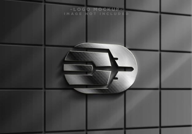 Maquette de logo réaliste argenté de mur de signe