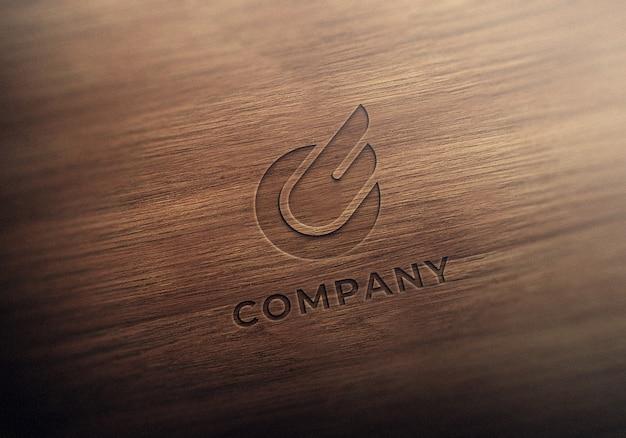 Maquette de logo réaliste en bois gravé
