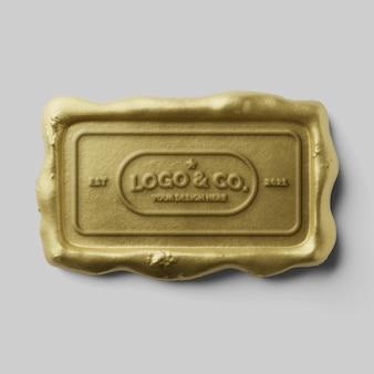 Maquette de logo réaliste de cachet de cire de bougie d'or authentique rectangle antique de luxe