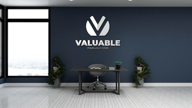 Maquette de logo réaliste dans un bureau à domicile privé