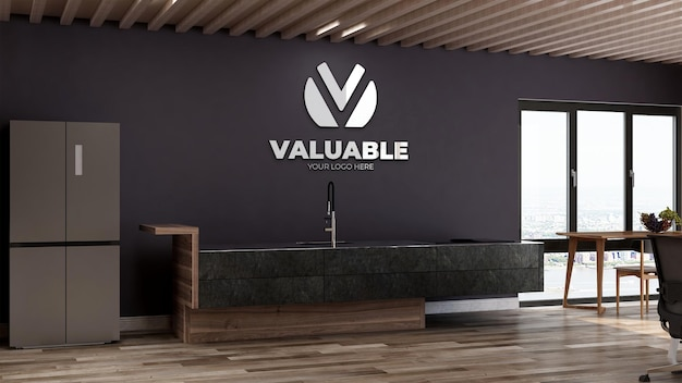 Maquette de logo réaliste dans le garde-manger du bureau ou la cuisine