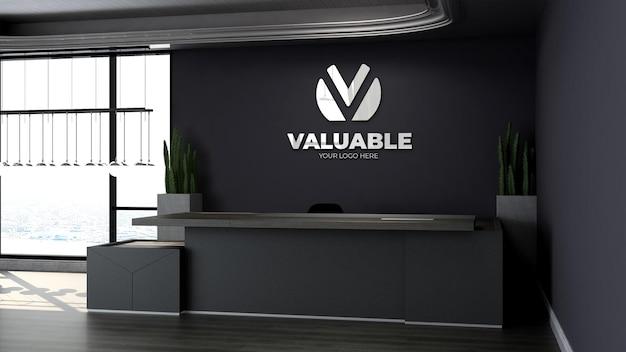 Maquette de logo réaliste dans la réceptionniste de bureau moderne ou dans la salle de réception