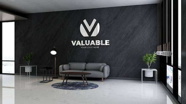 Maquette de logo réaliste dans la salle d'attente du hall du bureau avec un intérieur de conception de canapé minimaliste