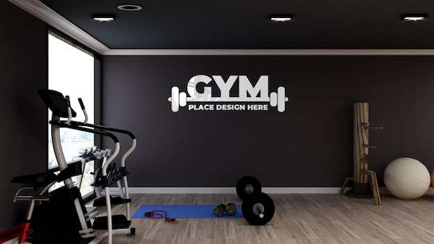 Maquette de logo réaliste dans une salle de fitness et de gym moderne