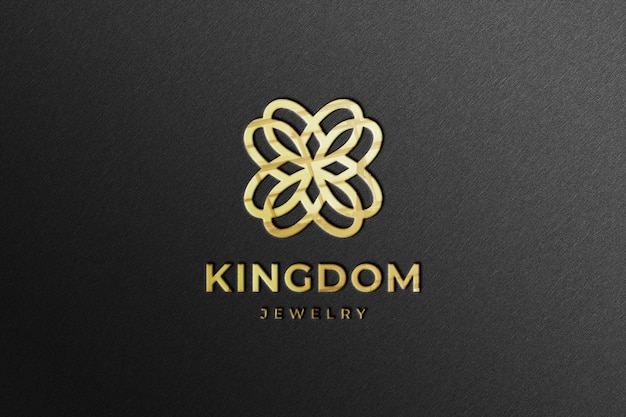 Maquette de logo réaliste golden company avec réflexion