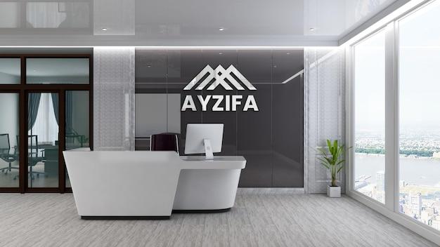 Maquette de logo de réception de bureau de luxe moderne