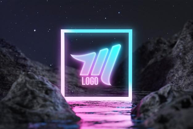 Maquette de logo rectangle neon water terrain night stars