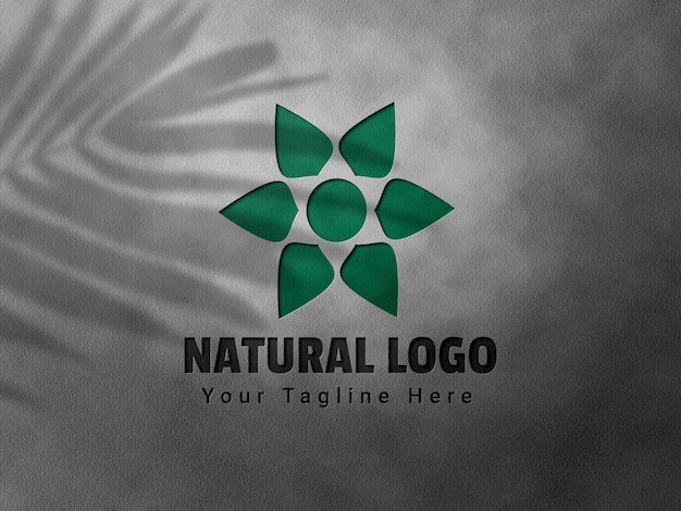 Maquette de logo en relief et en creux avec superposition d'ombres