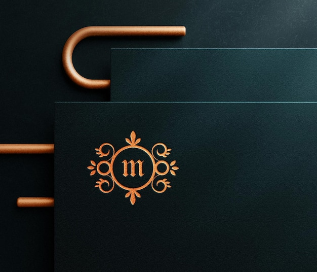 Maquette de logo en relief de luxe