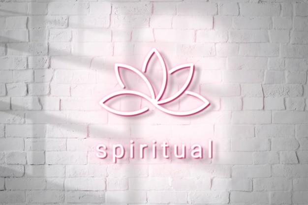Maquette de logo en relief néon psd pour spa