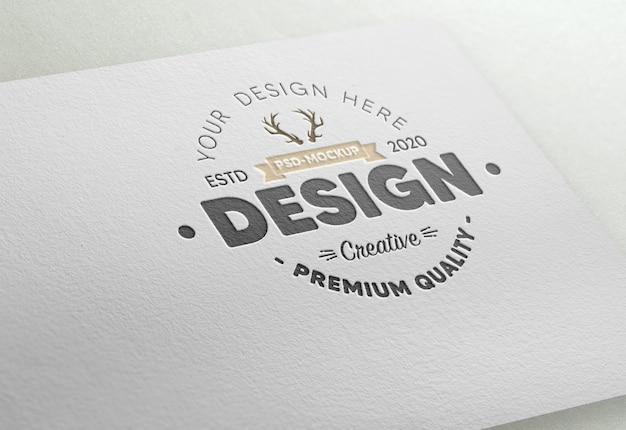 Maquette de logo en relief réaliste en papier blanc
