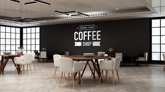 Maquette de logo de restaurant dans la salle de restaurant en bois minimaliste