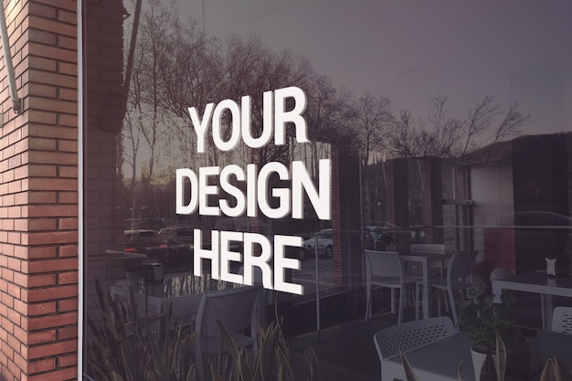 Maquette de logo de restaurant en verre