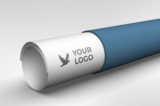 Maquette de logo sur rouleau de papier