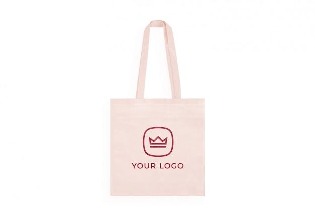 Maquette de logo de sac fourre-tout en coton