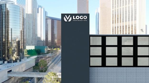 Maquette de logo de signe 3d réaliste dans le bâtiment de l'entreprise