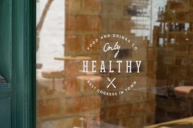 Maquette de logo de signe de fenêtre de restaurant
