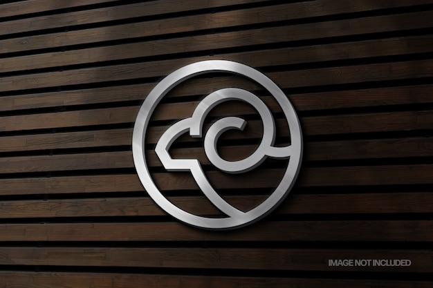 Maquette de logo de signe de mur argenté avec superposition d'ombre