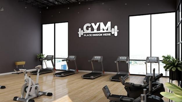 Maquette de logo de sport mural dans une salle de sport moderne