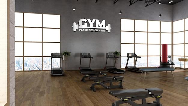 Maquette de logo de sport mural dans la salle de sport moderne