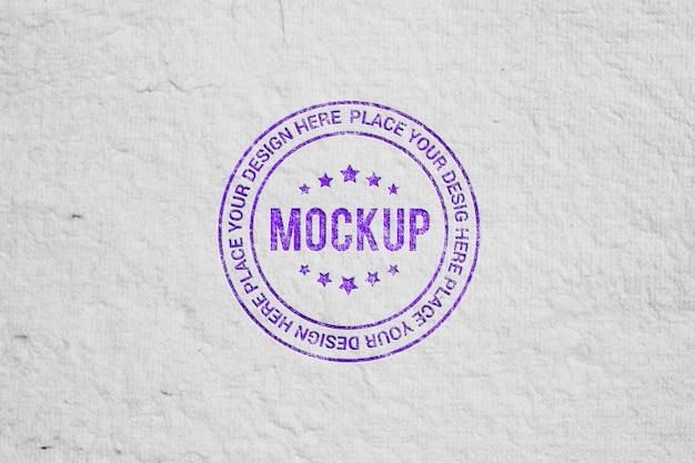 Maquette de logo de style timbre réaliste