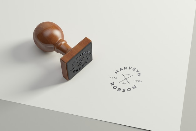 Maquette de logo de tampon en caoutchouc. version carrée