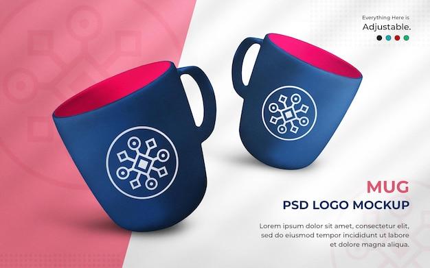 Maquette de logo sur une tasse en rendu 3d