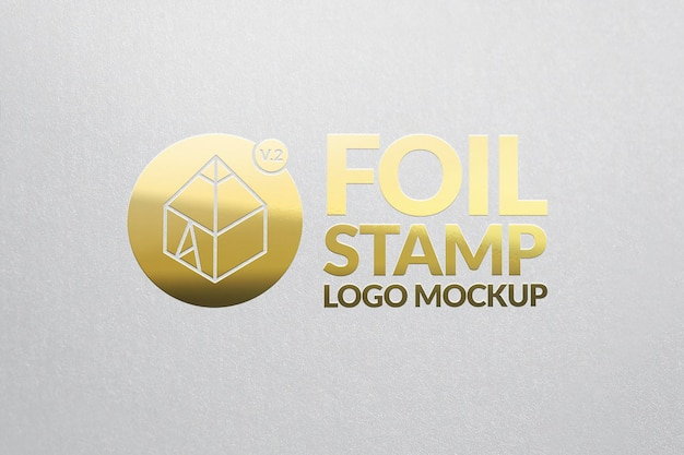 Maquette de logo de timbre en feuille d'or