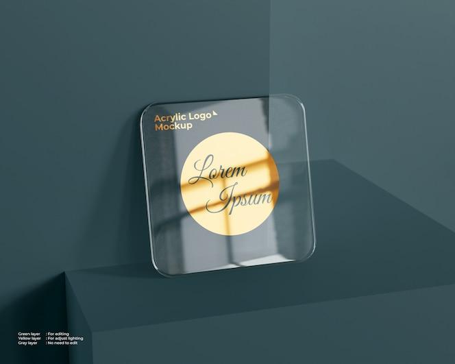 Maquette de logo en verre acrylique de forme carrée