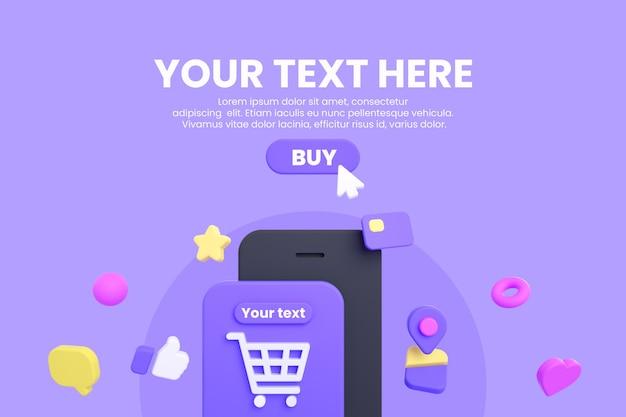 Maquette de magasinage en ligne mobile ou e-commerce isolée