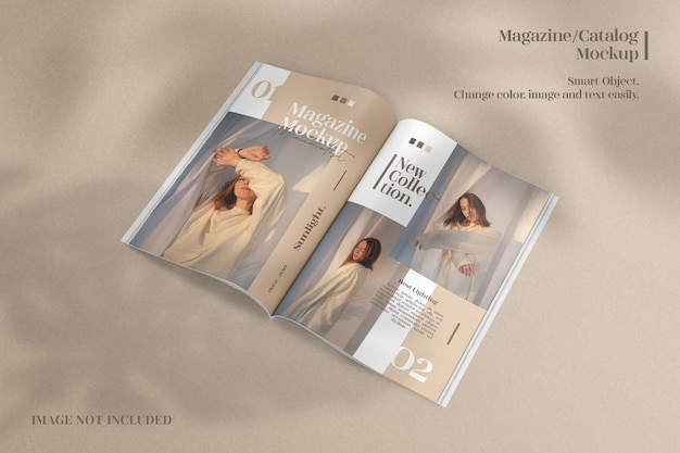 Maquette de magazine, brochure ou catalogue ouvert