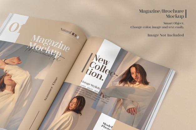 Maquette de magazine ou de catalogue ouvert minimaliste